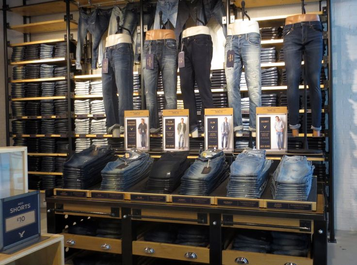 American Eagle Outfitters - AEO - AEO men's jeans power wall and table display…