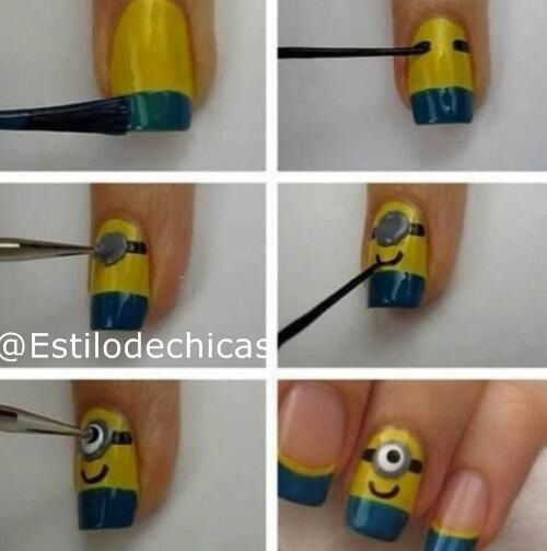 Uñas decoradas de minion, son super sencillas - http://xn--decorandouas-jhb.com/unas-decoradas-de-minion-son-super-sencillas/
