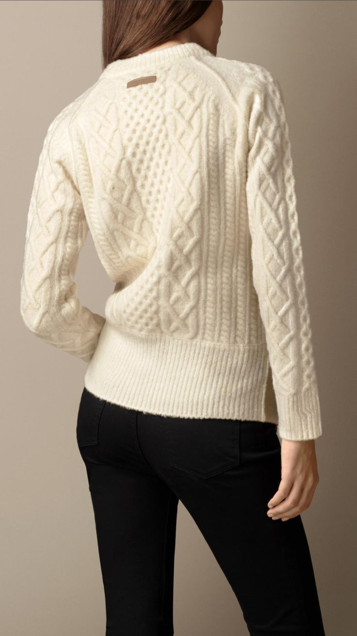 Wool Blend Cable Knit Sweater   Burberry