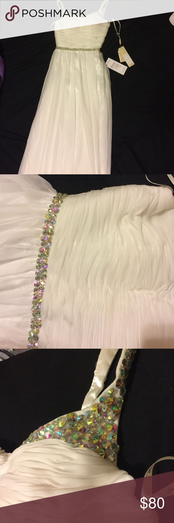 Long white formal dress Beautiful white formal dress with jeweled belt and jeweled straps. Never worn . Brand new Dresses Prom