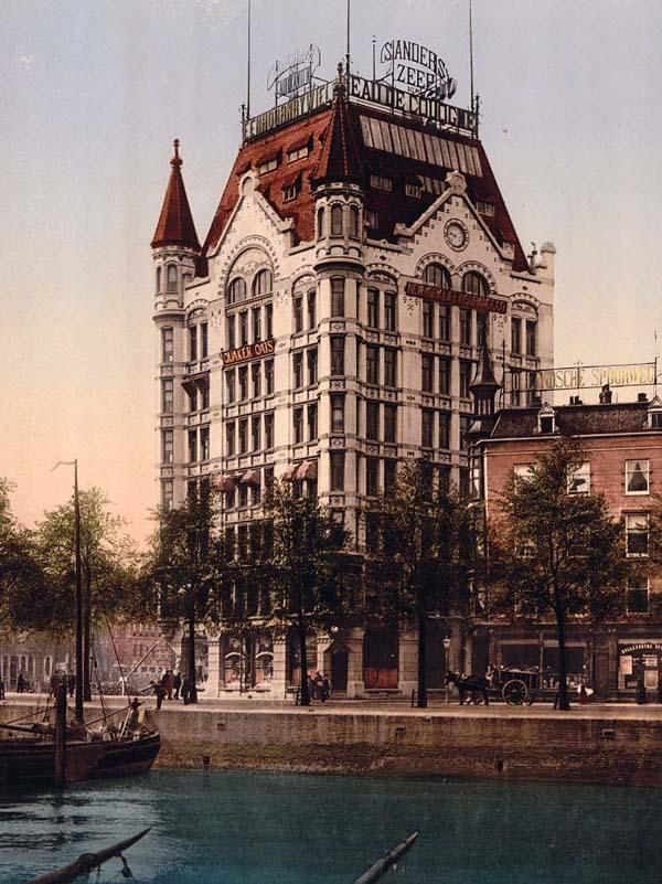 Whitehouse office building, Rotterdam, Holland. This color photochrome print was taken between 1890 and 1900