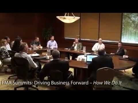 Watch our visual overview of what you will experience at an FMA Summit. From registration, through the Exhibit Area, to our Presentation Room. A meal at our corporate dining tables and intimate networking during our cocktail receptions with feedback from our Partners as to how we work for you.