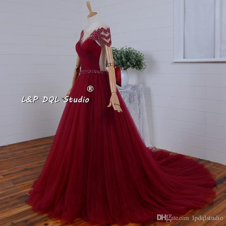 Sexy Dark Red Evening Dresses Illusion SHeer with Beading Court Train Pleats Tulle Big Bow Accept Custom Made Real Photos Evening Dress Evening Gown Vestidos Festa Online with $169.0/Piece on Lpdqlstudio's Store   DHgate.com