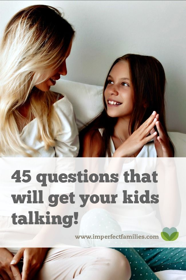 "Tired of trying to figure out what to say to your child, only to be met with silence, grunts, or ""Whatever, mom."" Use these 45 questions to get your kids talking!"