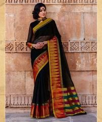 Black Color Blended Cotton Casual Party Sarees : Karunya Collection  YF-43395