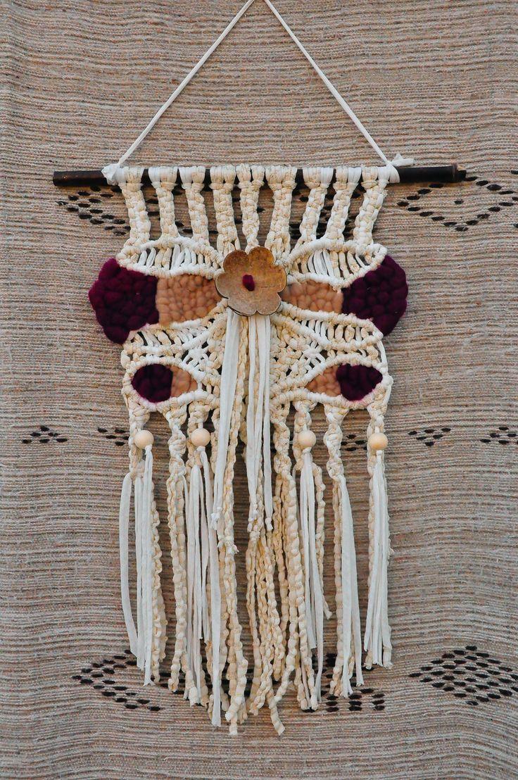 Tentures murales en macram et tissage r alis en fil coton cru 5 mm trapilho laine brute - Les differents types de laine ...