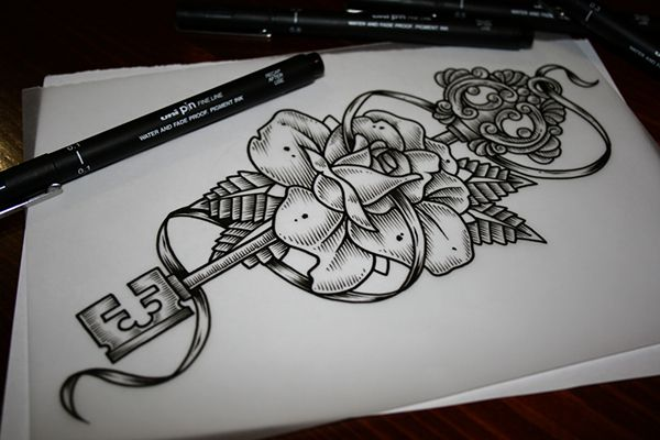 Rose Key Tattoo Design Key Tattoo Key Tattoo Designs Rose Tattoos