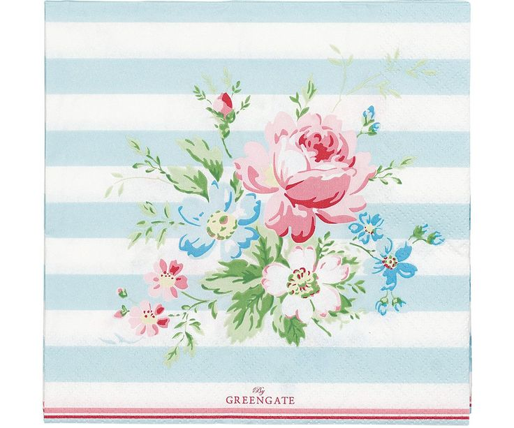 GreenGate Pappersservetter - Paper Napkin - Marie Pale Blue Large 20 stk