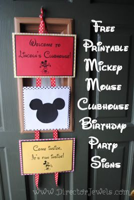 Free Printable: Mickey Mouse Clubhouse Birthday Party Signs - super easy DIY decorations!