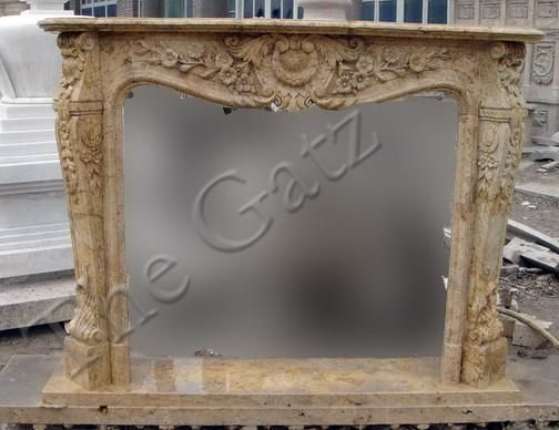 French Design Marble Fireplace Mantel, Old World Finish #3943