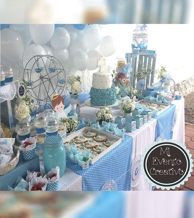 Mesa de pastel postres dulces y snacks para bautizo www for Decoracion de velas para bautizo