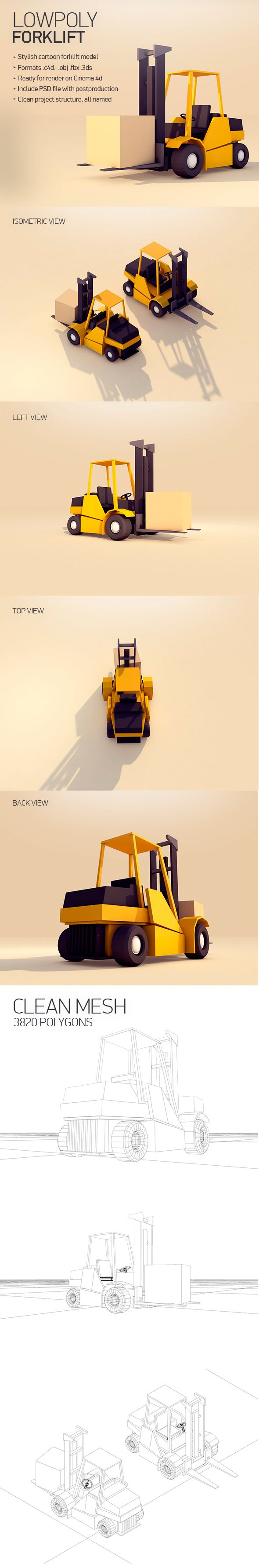 Low Poly Forklift 3D Models Design Template #cinema4d #3D #3dDesign Download here: https://3docean.net/item/forklift/14731095?ref=yinkira