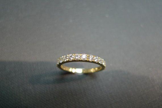 Bodas de diamante anillo de 14K oro amarillo por honngaijewelry