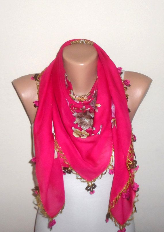 pink scarf  yellow flower green  brown white by DamlaScarf on Etsy