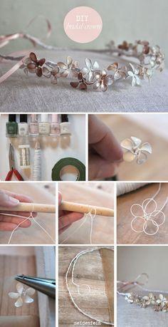 seidenfein 's Dekoblog: Blütengirlande fürs Haar * DIY * Vintage bridal crown                                                                                                                                                                                 Mehr