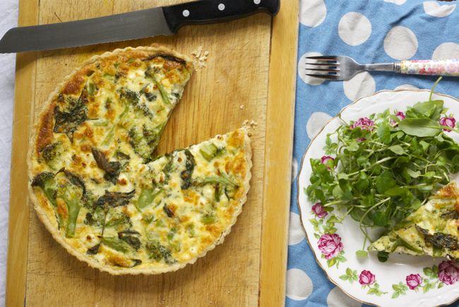 Broccoli and feta quiche