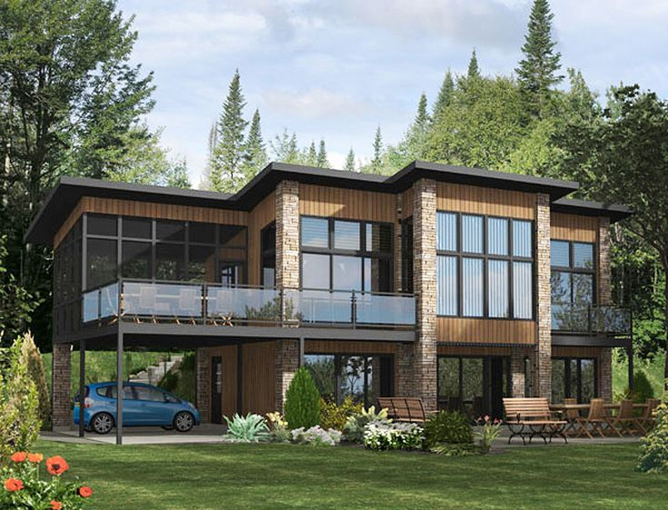 Dramatic Contemporary Home Plan - 90232PD | Modern, Canadian, Metric, 2nd Floor Master Suite, CAD Available, Media-Game-Home Theater, PDF, Corner Lot, Sloping Lot | Architectural Designs