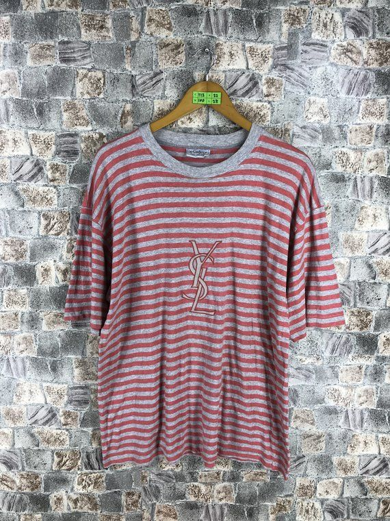 e8bafc4791 YVES SAINT LAURENT Stripes Tshirt Large Vintage Ysl Saint Laurent Paris  Spell Out Border Stripes Red