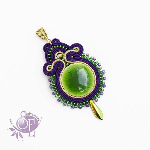 Szkatułka Emi: #167 Wisior z zieloną ceramiką