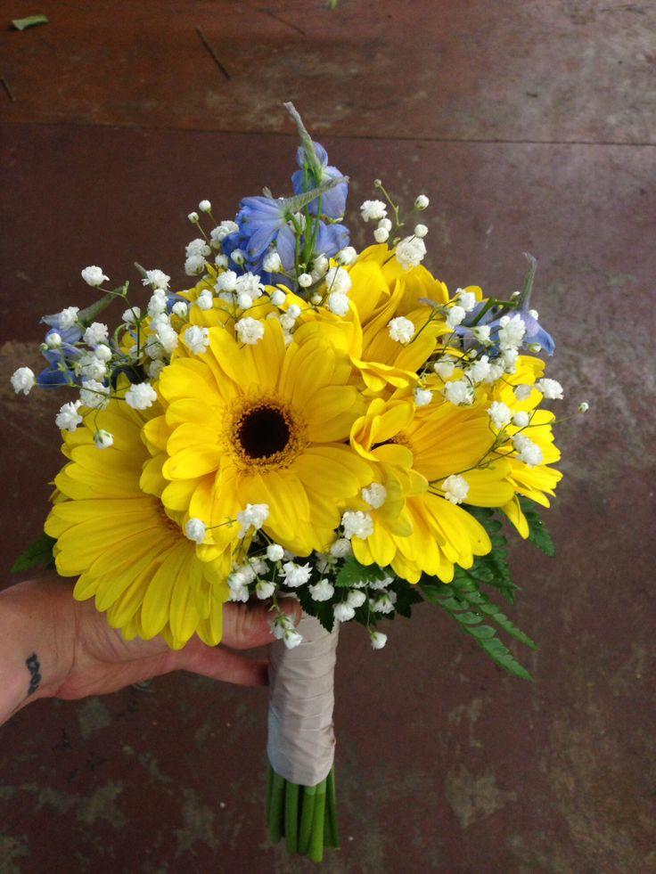 Bridesmaid, bridal bouquet, yellow gerber daisies, blue delphinium, babies breath, champagne ribbon, wedding flowers, Memphis, tn