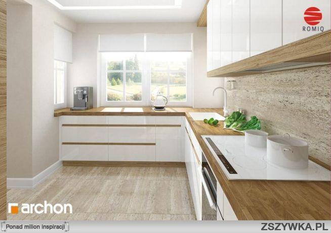 Zobacz zdjęcie Biała kuchnia z drewnianym blatem Rzut 2 w   -> Kuchnia Jasna Drewno