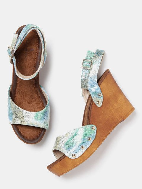 Buy Mast & Harbour Women Green Printed Wedges online in India at best price.  A pair of open-toe green, blue and gold-toned wedges, has ankle loop detail  ...