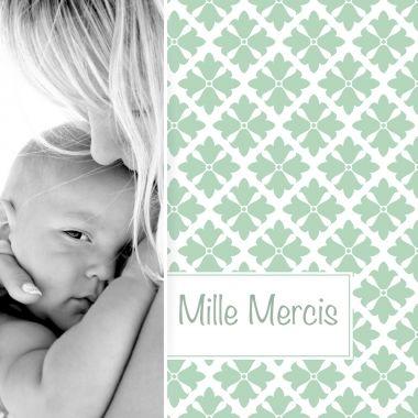 Couleur vert pastel pour cette carte de remerciements naissance mixte. Personnalisable en ligne sur notre site : http://www.lips.fr/impression/carte-remerciement-naissance/format-130-x-130-2p-modele.html?modele_id=519 #lips.fr