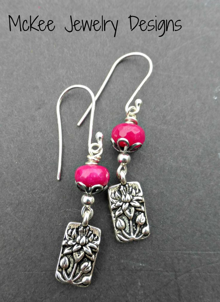 Pink stone, Lotus flower sterling silver earrings. Small earrings.