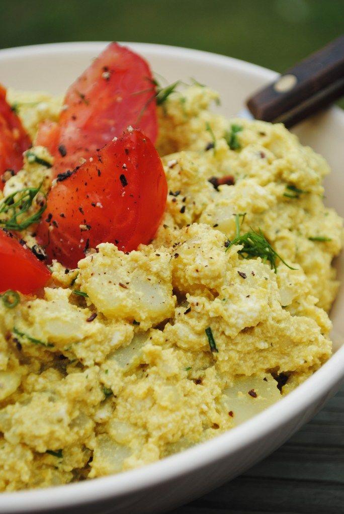 Creamy potato and tofu salad | Tofu dishes | Pinterest