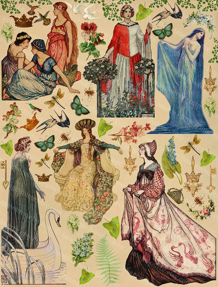 Download and Print your own Fairytale princesses, fair maidens, enchanted woodland and forest elements, with flower garlands, bouquets, crowns and much more to spark your creativity. This scrapbook page will be part of a multiple page set featuring Knights in armor, mythical creatures like unicorns and dragons, castles and more. These images are scans from vintage texts and advertisements and are all copyright expired, legally obtained and legal to use, meaning you may use them in your own…
