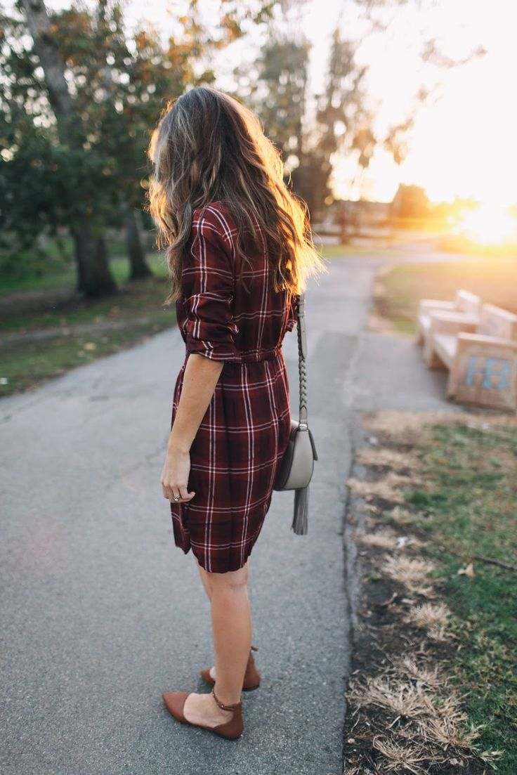 MY OUTFIT: PLAID DRESS  (wearing size small Tall)  ||   ANKLE STRAP FLATS  (under $30 -- run slightly small, so size up...