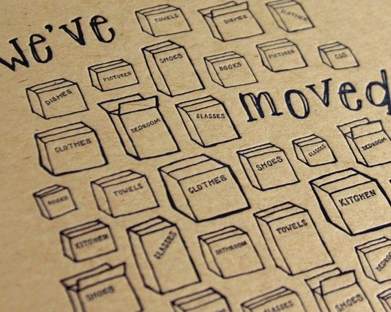 We've Moved letterpress new address announcements by springolive, $20.00
