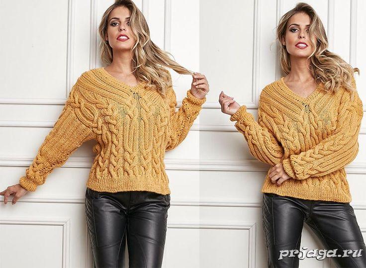 Горчичный свитер спицами с косами