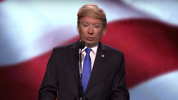 Donald Trump (Jimmy Fallon) gave a passionate defence of Melania's speech