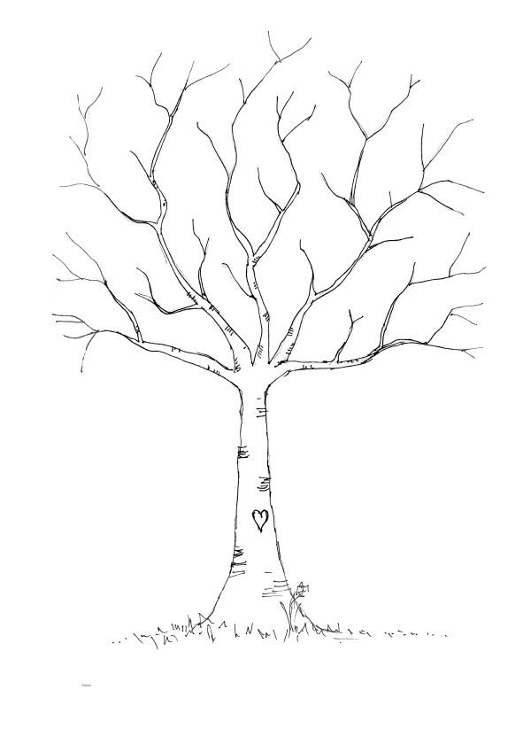 "Tree outline for a ""LEAF your thumbprint and sign your name"""