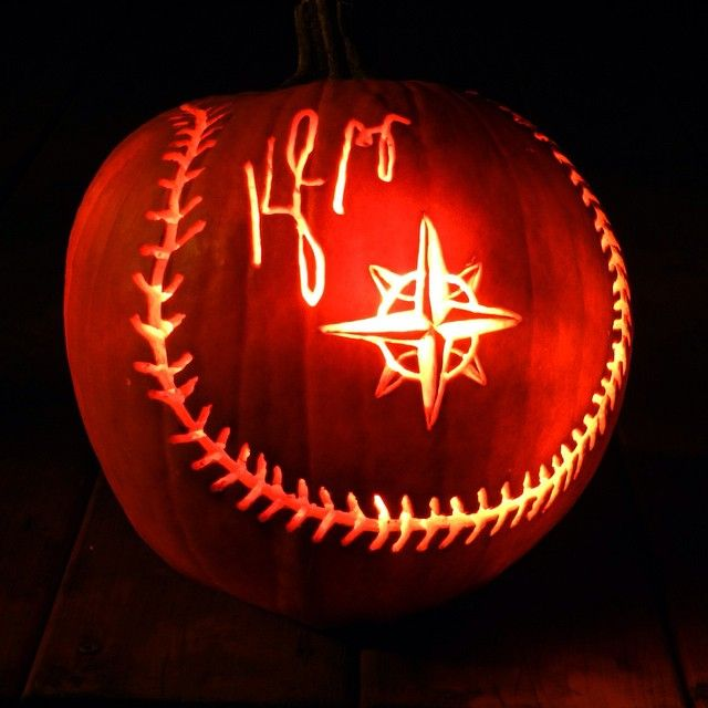 Mariners autographed ball pumpkin marinershalloween