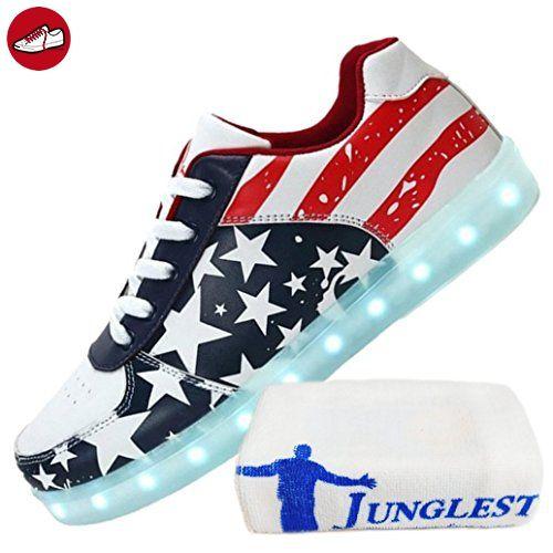 (Present:kleines Handtuch)Rot EU 44, amerikanische Paare Herren für Flagge JUNGLEST® Turnschuhe leuchten leuchtende Unisex Charging laufende blinkende Schuhe LED mode den zufällige Ezfl (*Partner-Link)