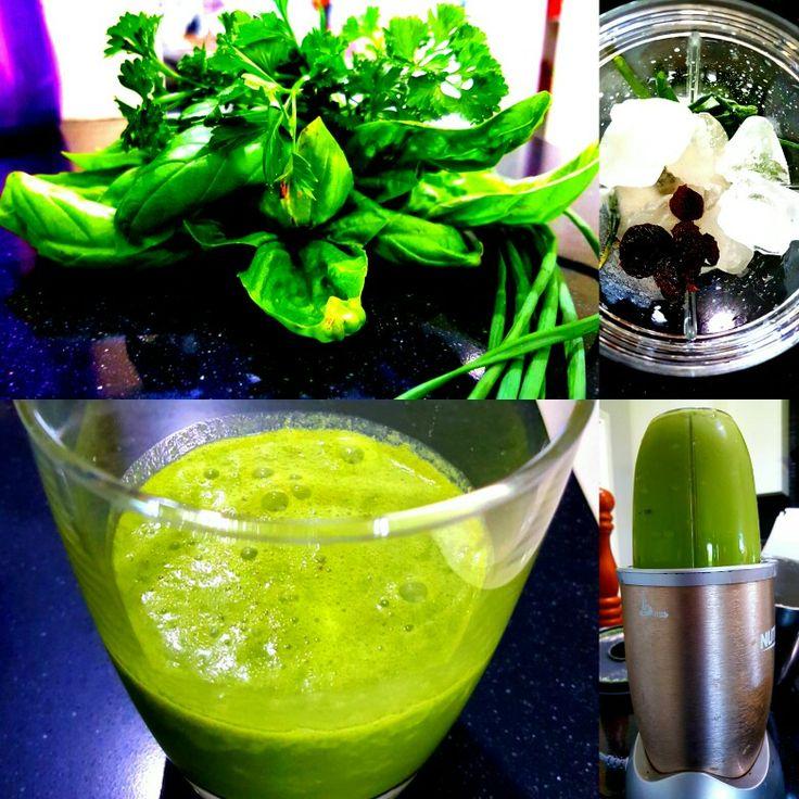 Basil, parsley, chives, couple raisins, ice, organic coconut milk. Blitz in nutri bullet. No dairy. No sugar.