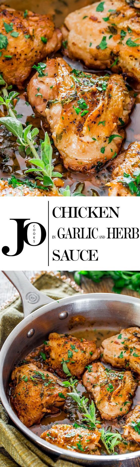 Chicken in Garlic and Herb Sauce - incredibly juicy chicken thighs in a simple…