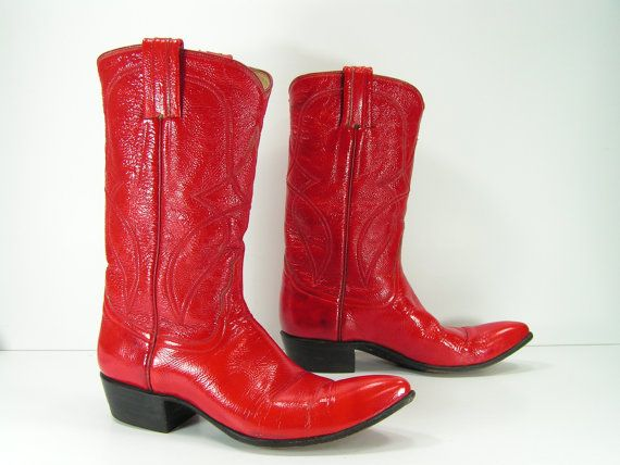 vintage cowboy boots womens 5 B M red patent by vintagecowboyboots, $99.99
