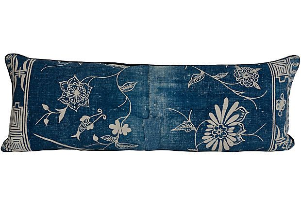 Vintage Japanese cotton pillow with indigo dye and traditional floral/symbols motif.