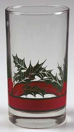 Libbey Glass Company Holly & Berries 11 Oz Flat Tumbler