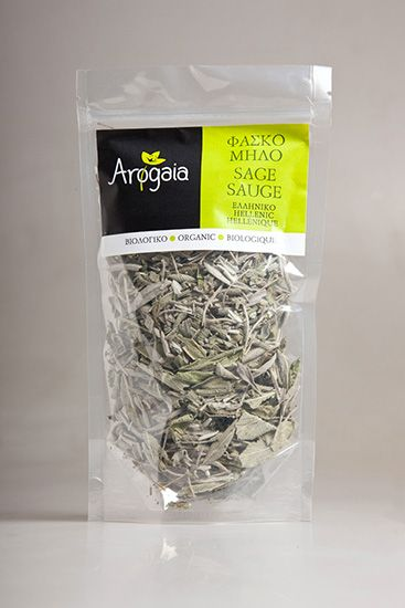 Sage, certified organic rain fed herb cultivated in Greece, packaged in flexible container-appropriate for food-tightly closed and sealed, 40g. Please note: The flexible container works either independently, because airtight after each exposure, or as a refill for the glass jars.