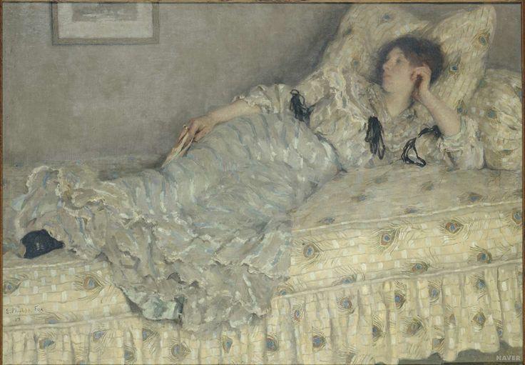 //// 엠마누엘 필립스 폭스 <꿈> -1903년 제작 //// 침대에 기대어 살짝 잠이 든 여인을 그려낸 작품이다. 보통의 사람들이 낮잠 자는 모습과 별반 다르지 않다. 그녀의 주변 풍경 또한 지극히 일상적이다. 다만 이 작품의 제목이 <낮잠>이 아니라 <꿈>이라는 점이 특이하다. 화가가 그녀가 꿈을 꾸고 있다고 생각하고 그린 듯 싶다. 다른 작품들과 달리 그녀의 꿈을 훔쳐볼만한 부분은 없다. 하지만 오히려 우리가 그녀의 꿈을 상상해볼 수 있는 기회일지도 모른다. 나풀거리는 치마를 입고 나풀거리는 침대 위에서 잠이 든 그녀는 무슨 꿈을 꾸고 있을까? 남의 꿈을 상상해보는 것 또한 창조력의 한 부분일 것이다.