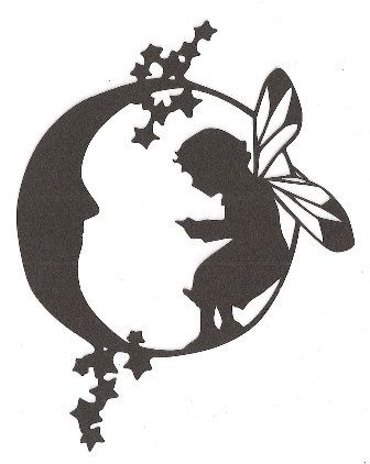 Fairy on the moon silhouette by hilemanhouse on Etsy, $1.99