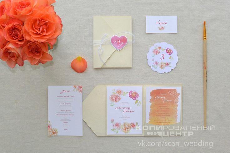 Акварельная коллекция в персиковом-розовых тонах (приглашения в конверте, меню, номера столов, рассадочные карточки), ,