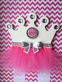 Hair Bow Holder Pink Princess Tutu Crown Hair Bow holder with Rhinestones…