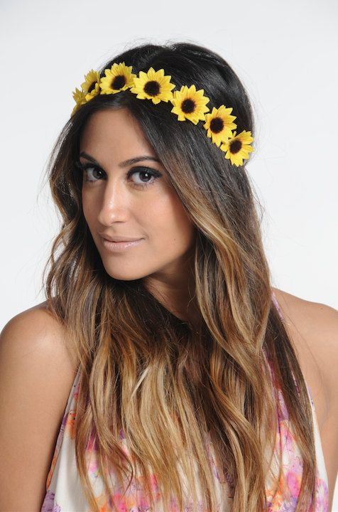 Small Sunflower Headband Sunflower crown by ThatMadonnaGirl