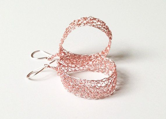 Rose gold earrings Crochet wire earrings.Knitted dangle by ByDrora