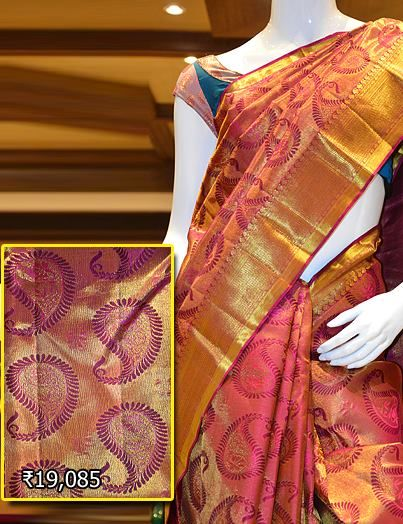 Classy bridal saree Kancheepuram wedding collection. Visit Pothys Boutique, G N Chetty Road, T Nagar, Chennai, for the finest range of wedding sarees.